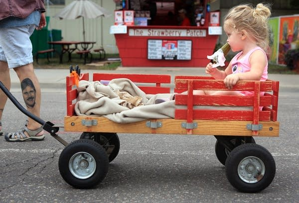 A pickle and a wagon at the fair