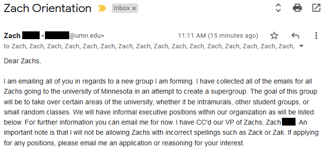 An email from a U of M student, Zach Faith, to other Zachs.
