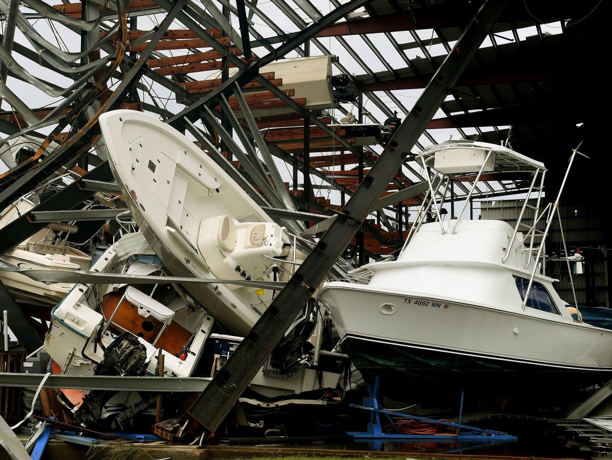 Damaged boats after Hurricane Harvey