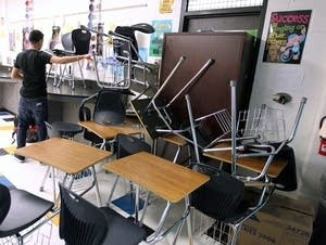 Students take part in a mock lockdown drill