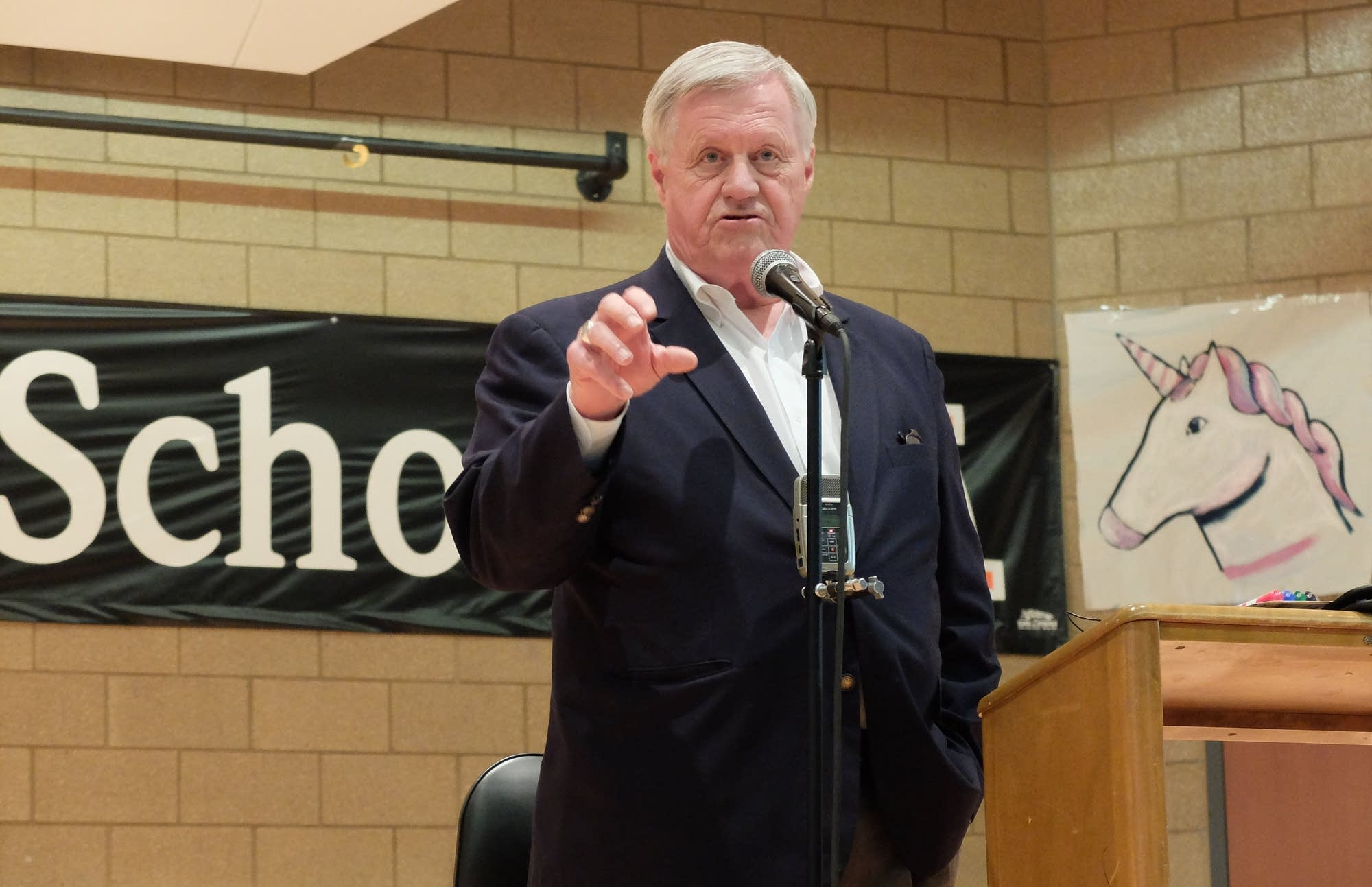 Minnesota 7th District U.S. Rep. Collin Peterson speaks at a town hall.