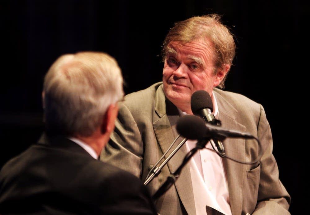 Walter Mondale talks with Garrison Keillor