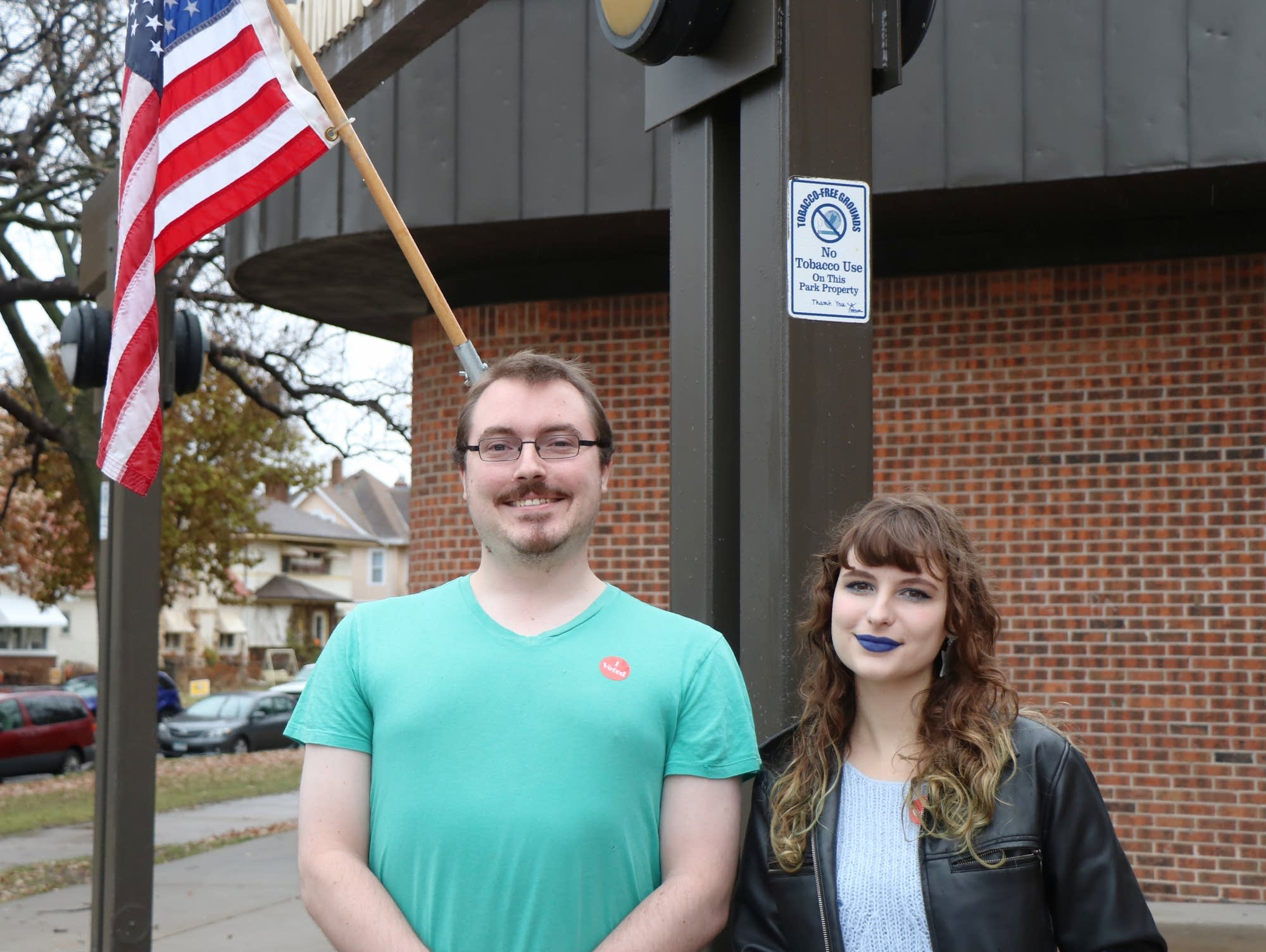 Mekenzie Lundberg, right and Benjamin Kolbinger vote in north Minneapolis.