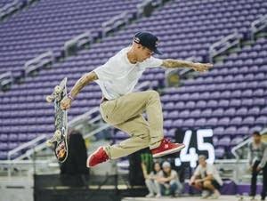 Ryan Sheckler bails on a trick.