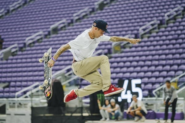 Ryan Sheckler bails on a trick.