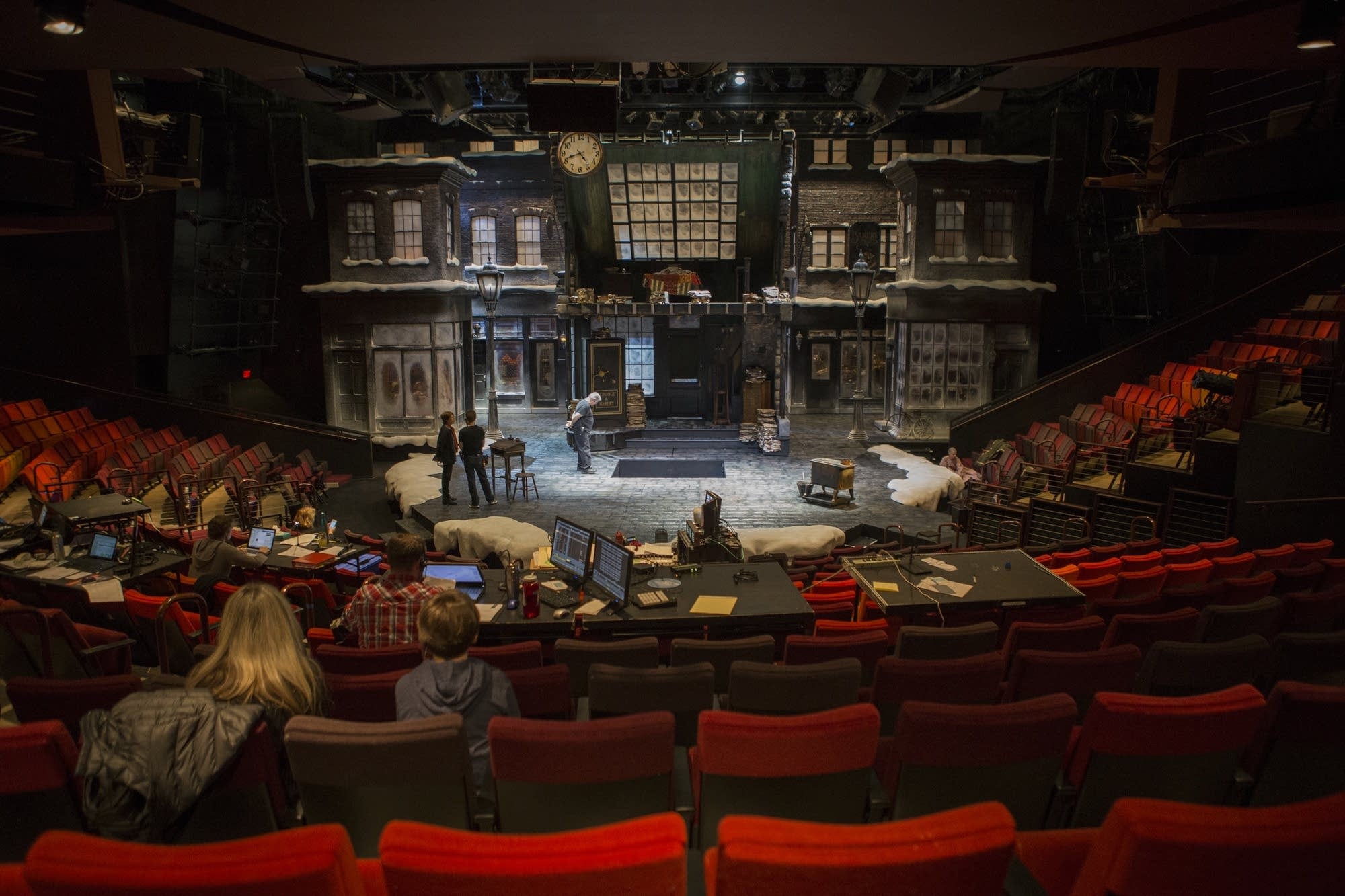 The 'A Christmas Carol' set is ready for show during a rehearsal.