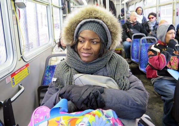 Johnson often rode the bus to meet her children.