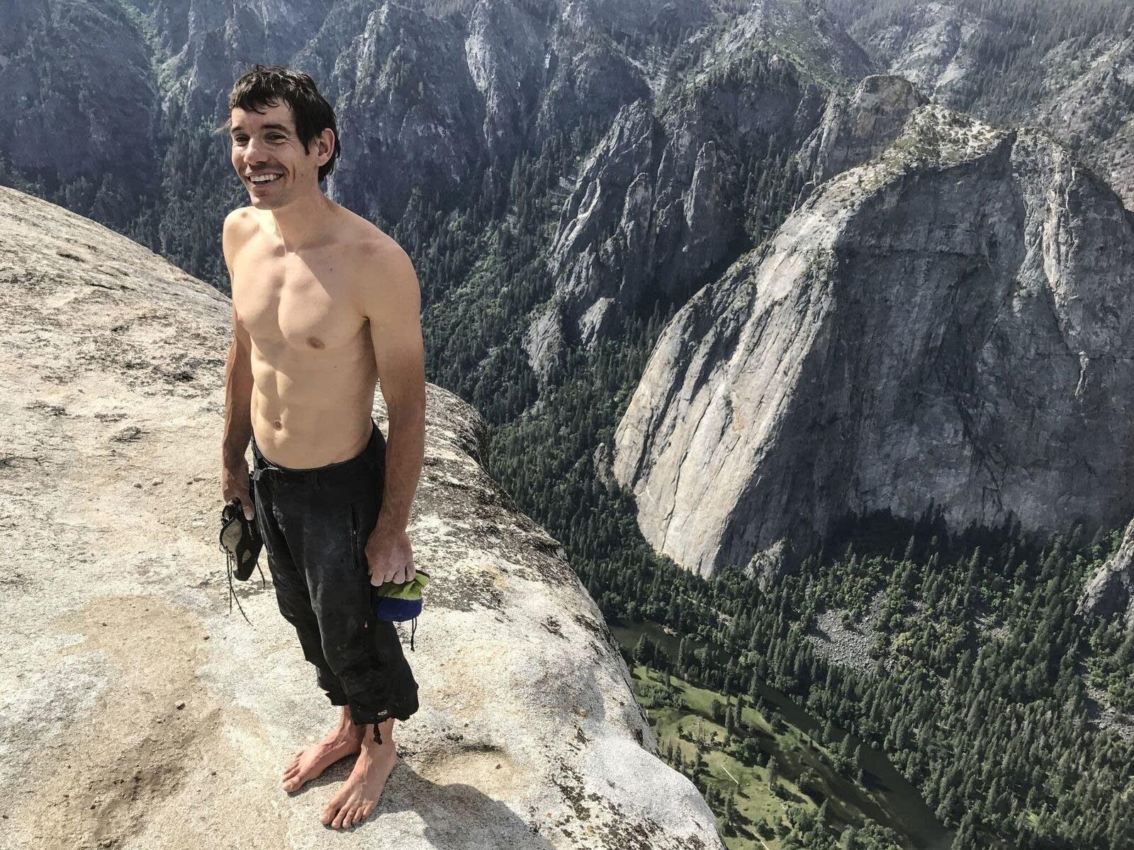 Alex Honnold stands atop El Capitan after his historic free solo climb.
