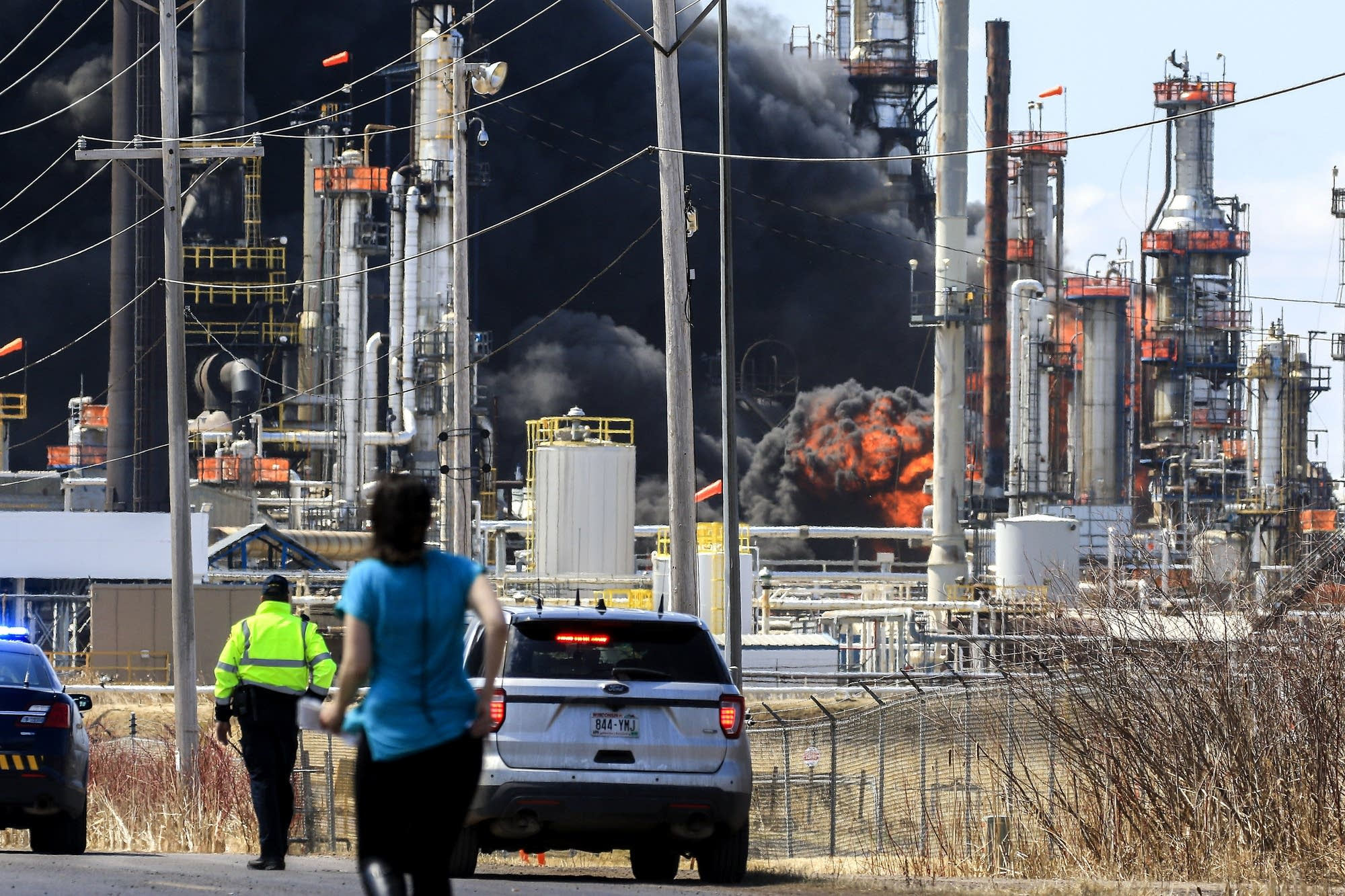 A large fireball erupts at the Calumet refinery.