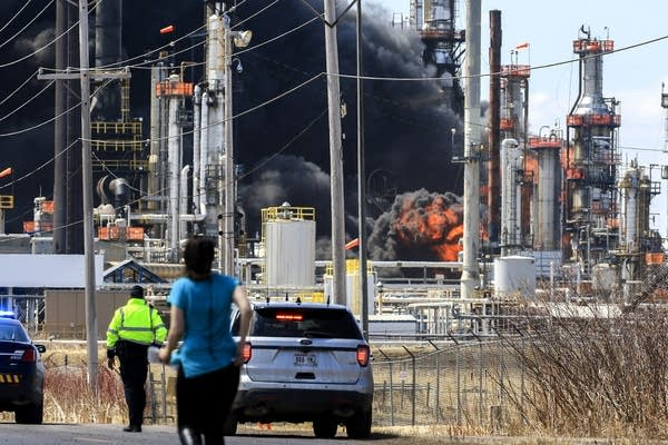 A large fireball erupts at the Husky refinery.