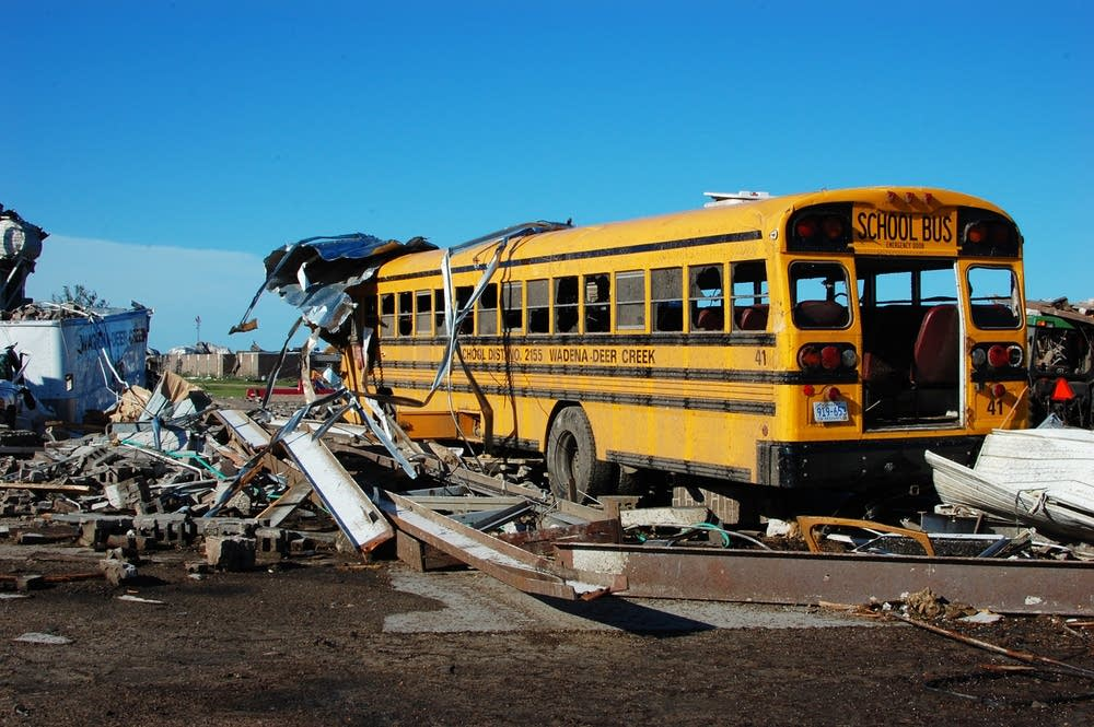 Wadena bus overturned, tornado