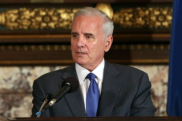 Governor Mark Dayton answers questions from the media regarding flood relief, primary election results and light rail, among other things, Wednesday, Aug. 15, 2012 at the State Capitol in St. Paul.