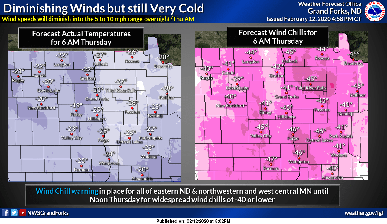 Forecast air temperatures and wind chills for 6 am Thursday