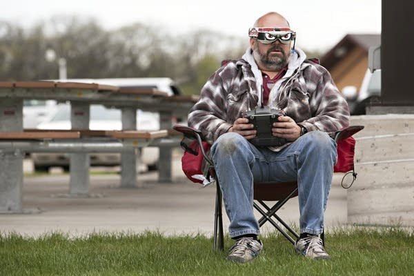 Pilot Ian McIntyre of Fargo, N.D., maneuvers his drone during a race.