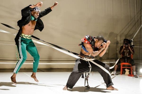 Dancers Shamar Watt, Nora Chipaumire, and Pape Ibrahima Ndiaye aka Kaolack