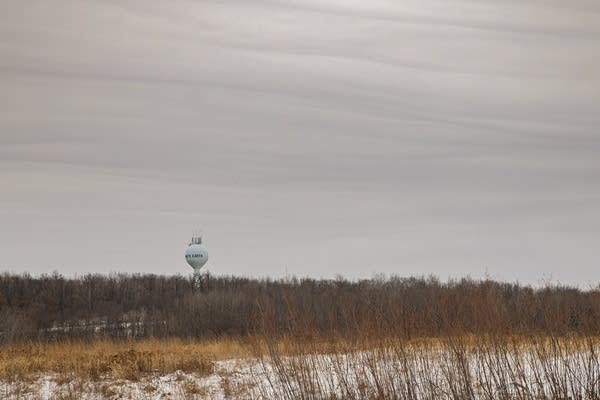 A water tower is seen past a field