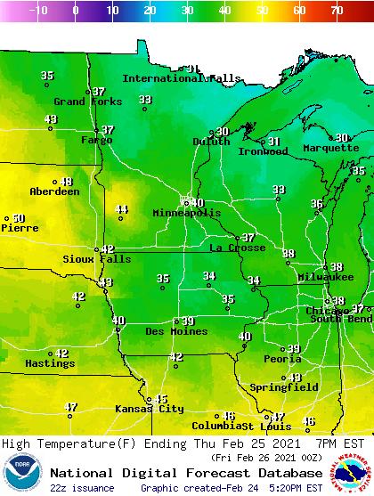 Forecast high temperatures Thursday