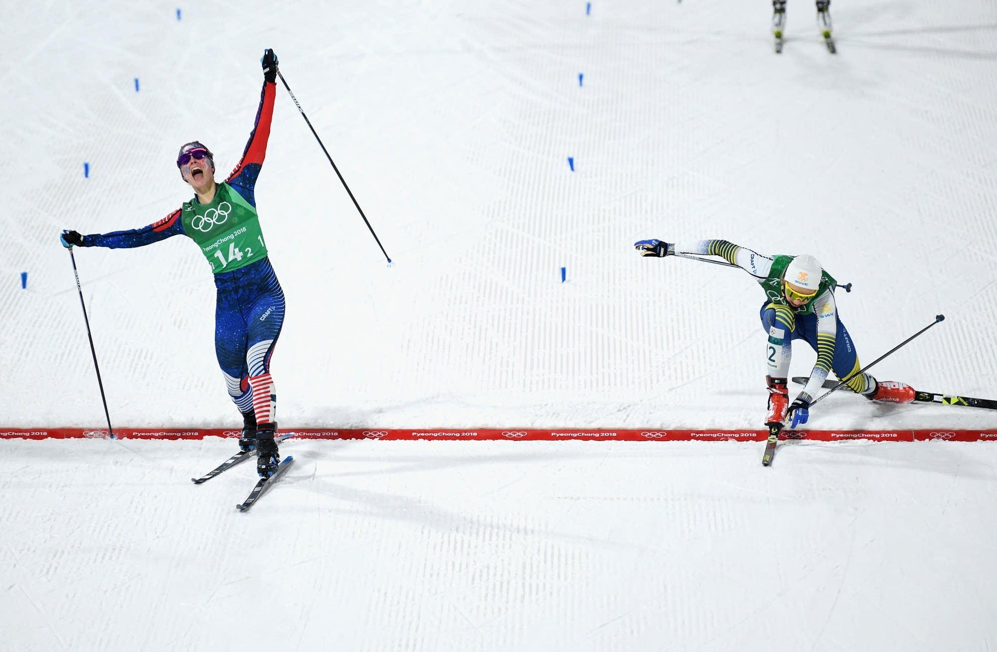 Jessie Diggins wins gold ahead of Stina Nilsson.