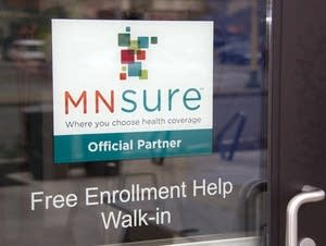 As sign on the door of Briva Health, MNsure's largest enrollment partner.