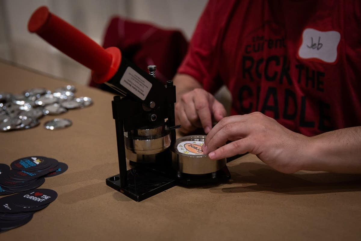 Making buttons at Rock the Cradle 2020.