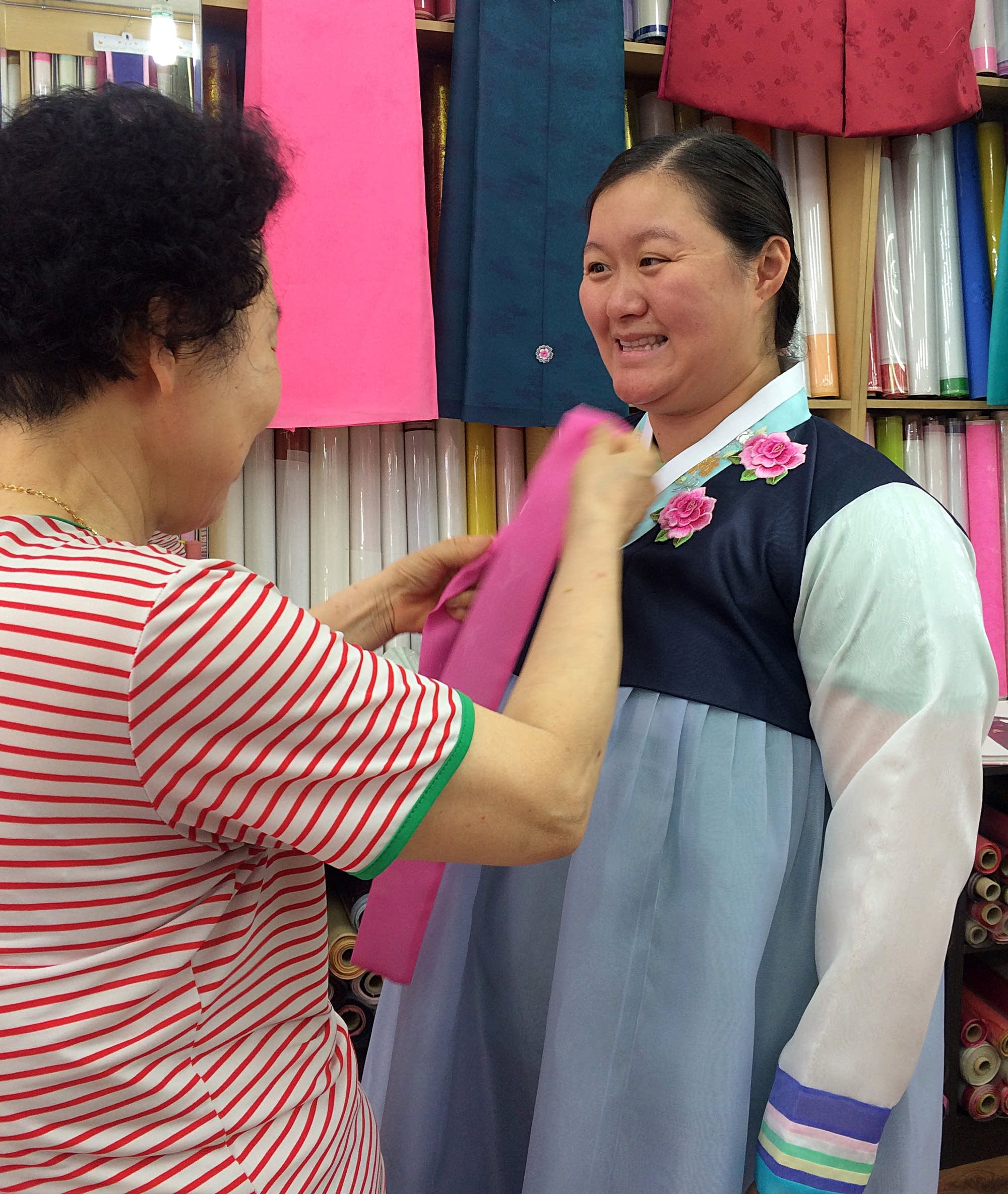 Megan Arnesen tries on a custom hanbok