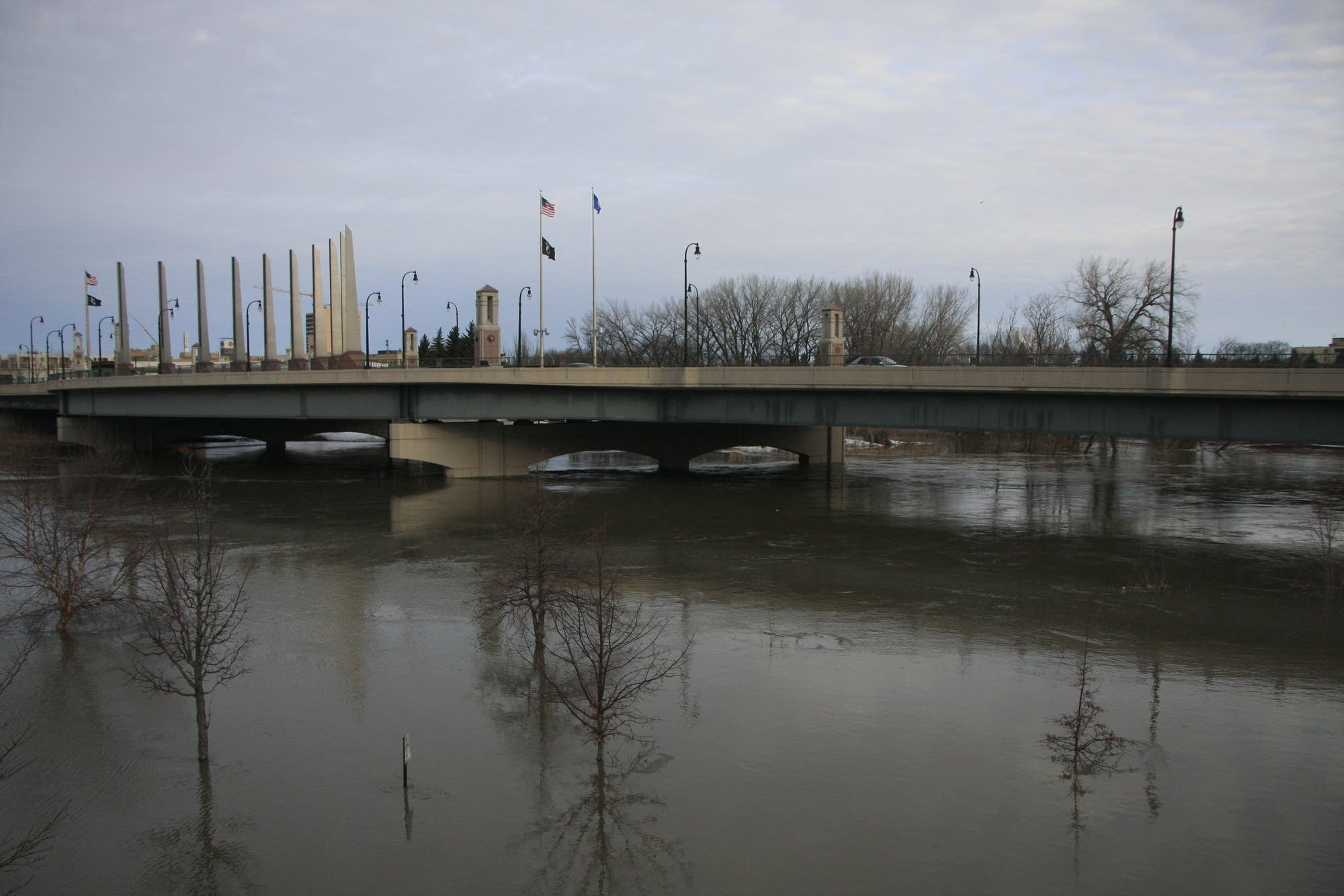 The Red River in Moorhead, Minn., on April 4