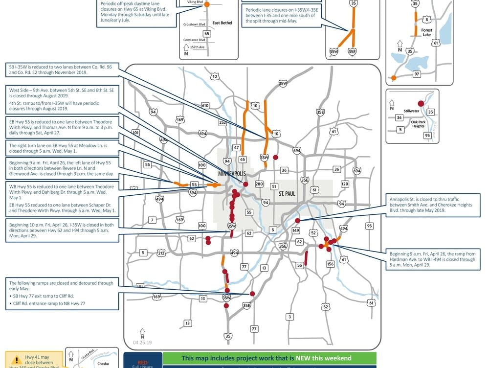Closures on I-35W, lane reductions throughout metro area this
