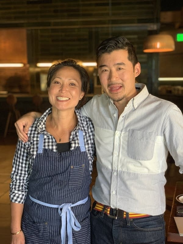 Francis Lam with Ann Kim in Young Joni restaurant