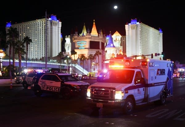 An ambulance leaves the intersection of Las Vegas Blvd. and Tropicana Ave.
