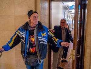 Former Gov. Jesse Ventura leaves a meeting with Governor-elect Tim Walz.