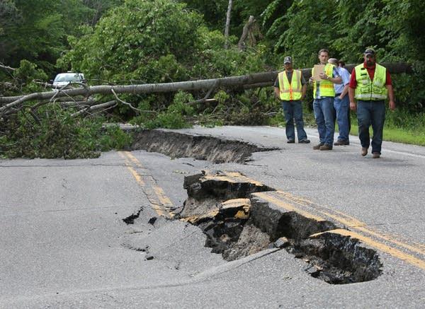 Inspecting road damage