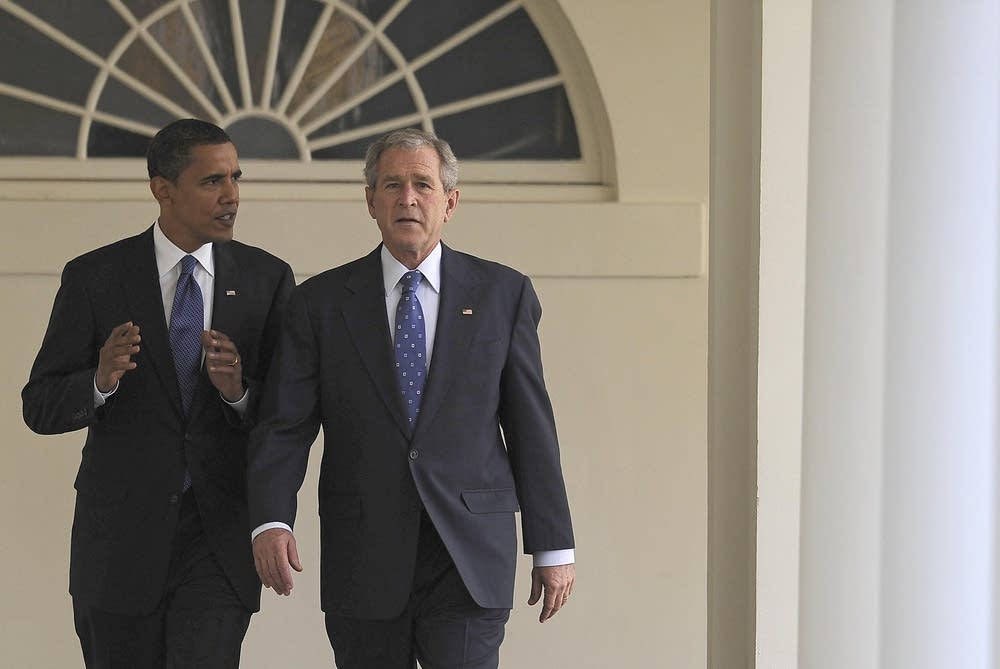 President Bush leads Obama through the White House