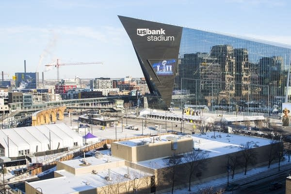 US Bank Stadium looms over closed streets