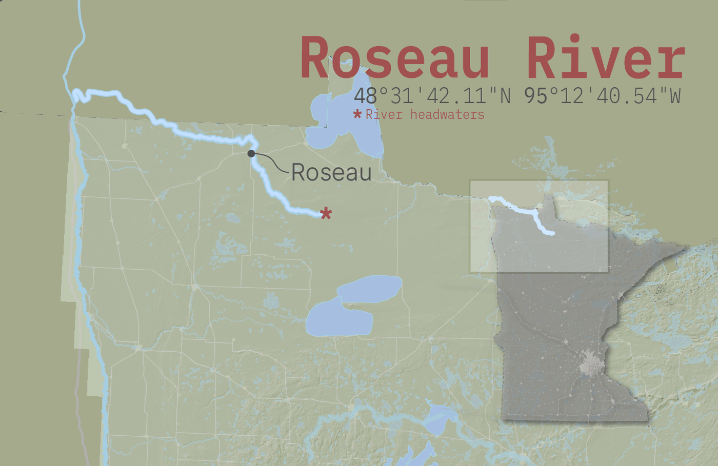 Roseau River flowing north into the Red River of the North
