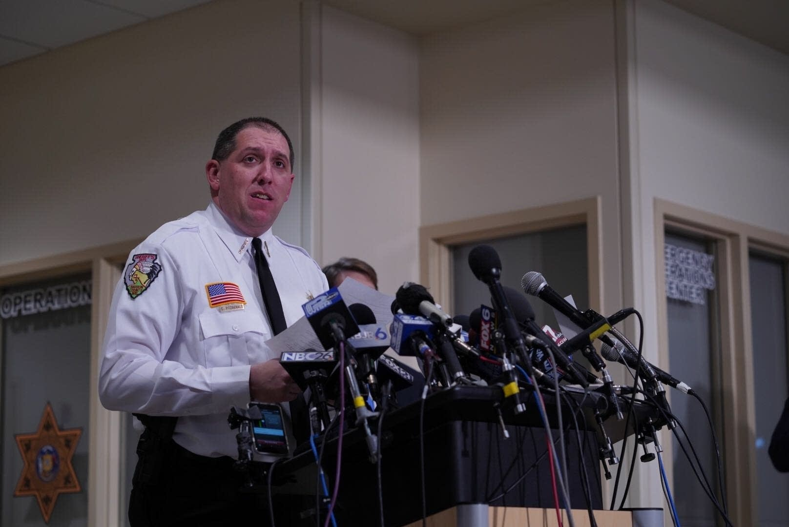 Barron County Sheriff Chris Fitzgerald at a press conference