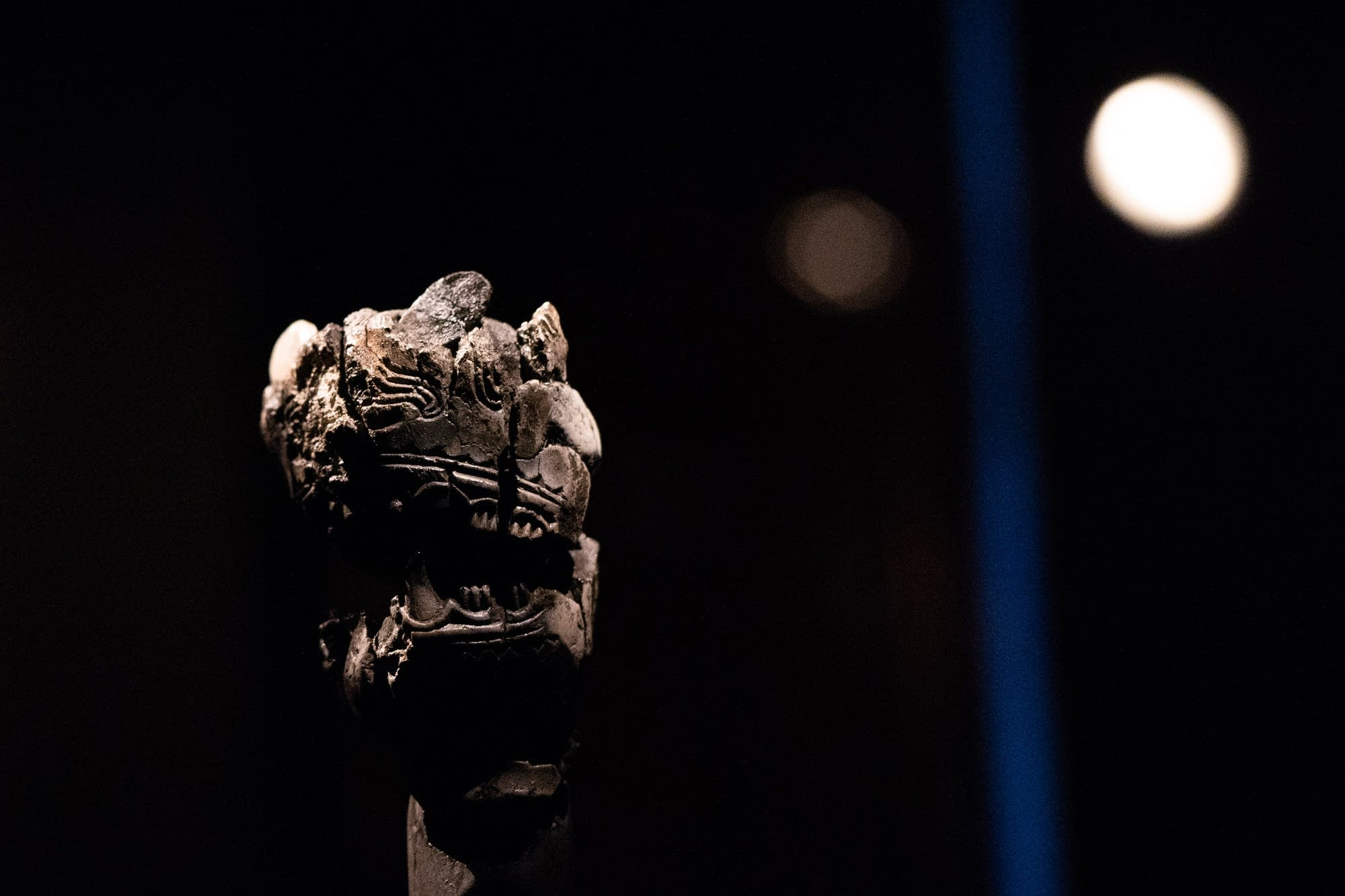 A decorated animal head recovered from the grave of a 10th-century Viking.