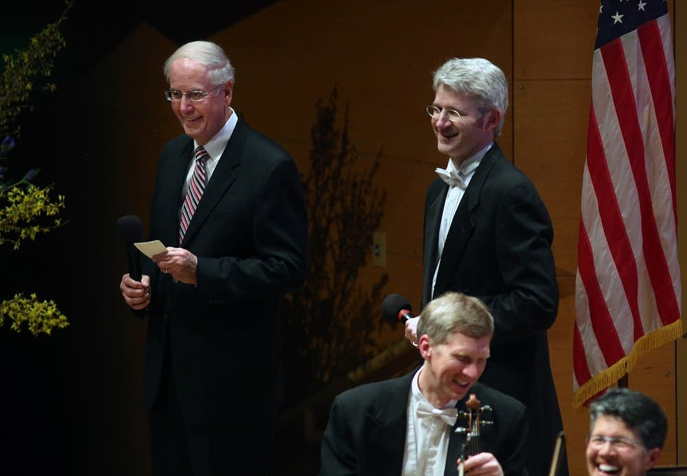 Gordon Sprenger (left) speaks at Orch. Hall