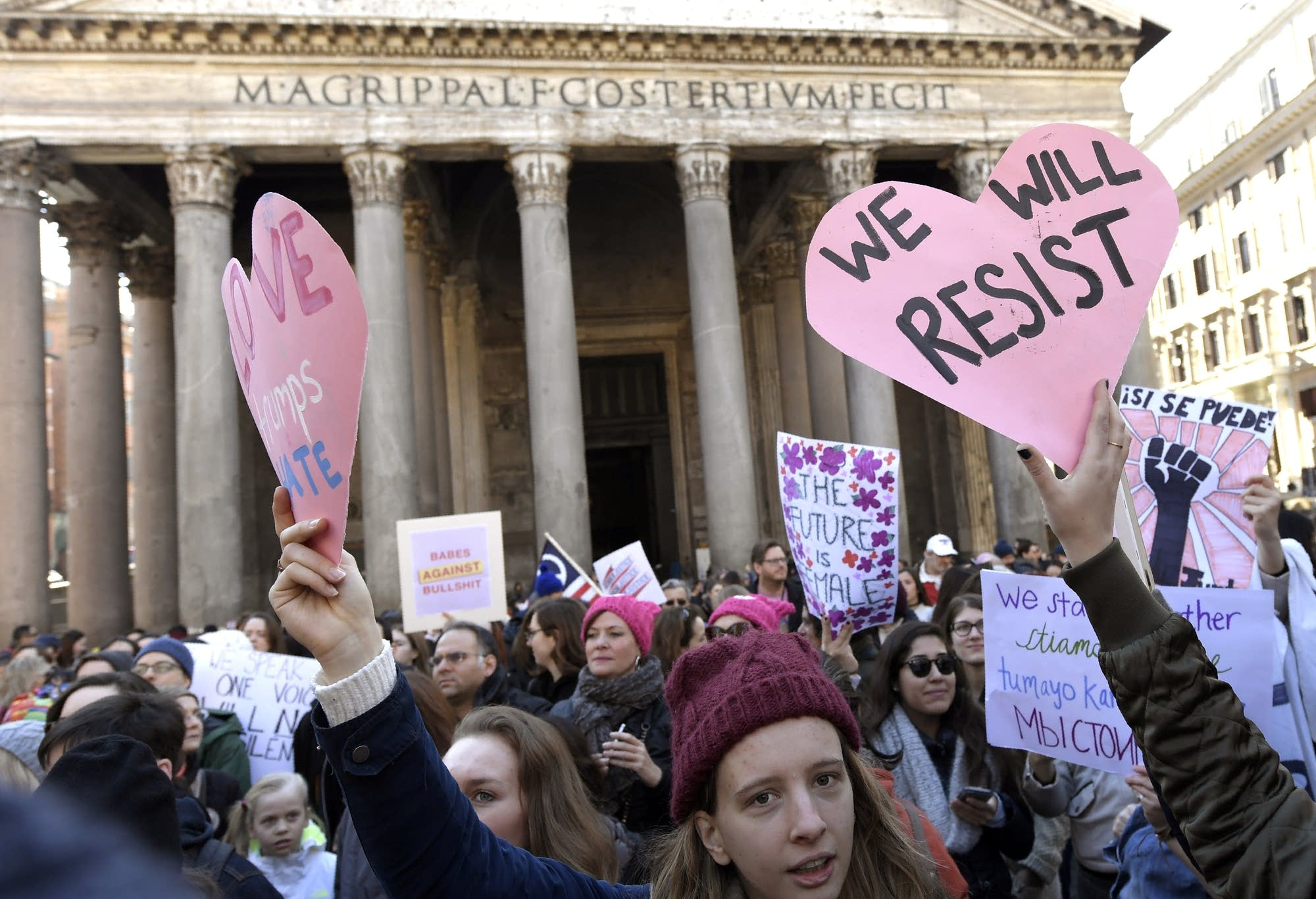 Rome, Italy: Protesters rally the day after the inauguration.