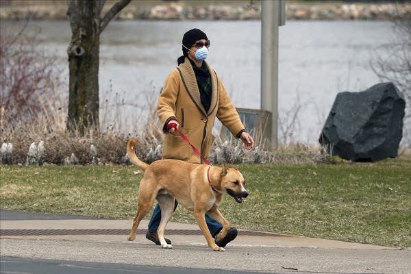 A woman wears a face mask as she walks around Normandale Lake with a dog.