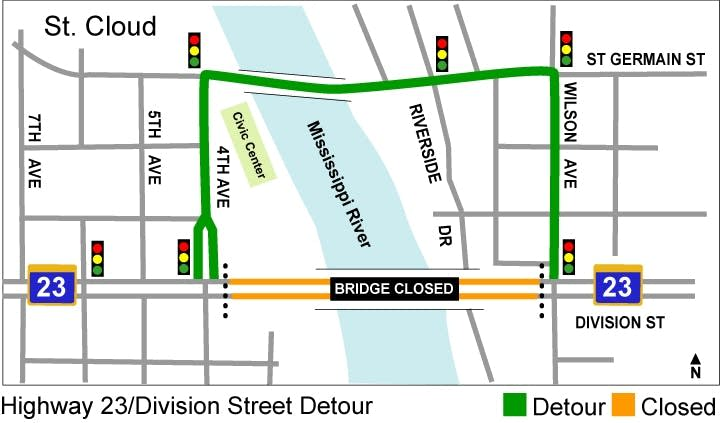 Division St. bridge closure map