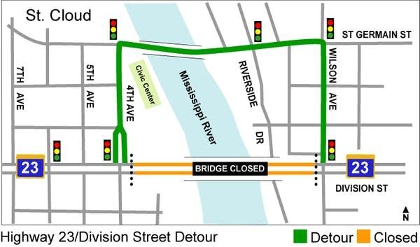 Division St. bridge closure map