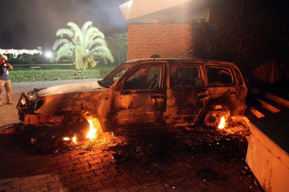 Car smolders