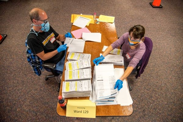 Election workers at Milwaukee's central count facility