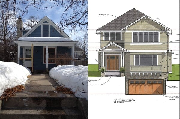 Linden Hills home, left, plan for new home, right