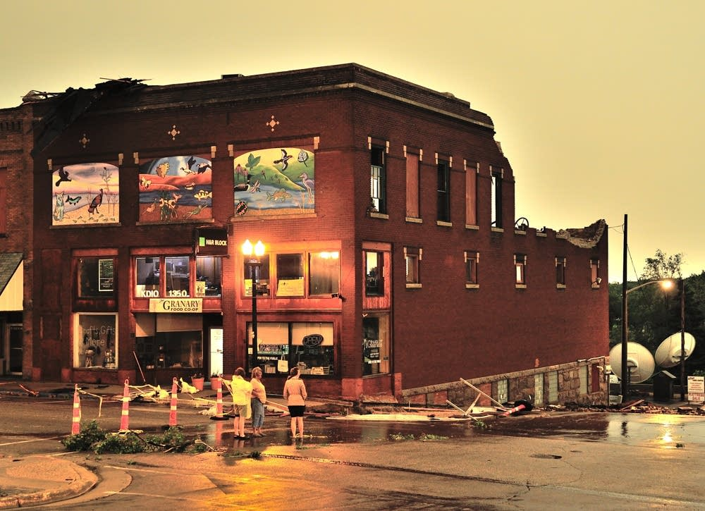 Damaged building in downtown Ortonville