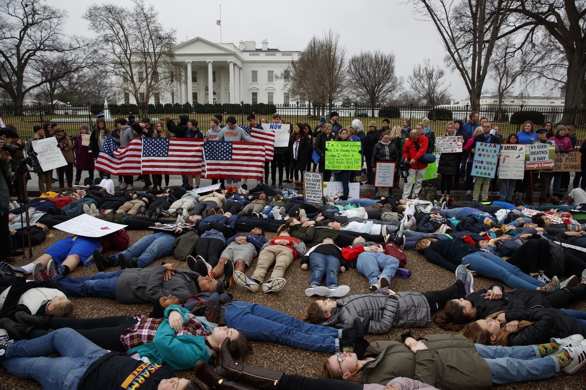 Demonstrators participate in 'lie-in' in wake of Parkland school shooting.