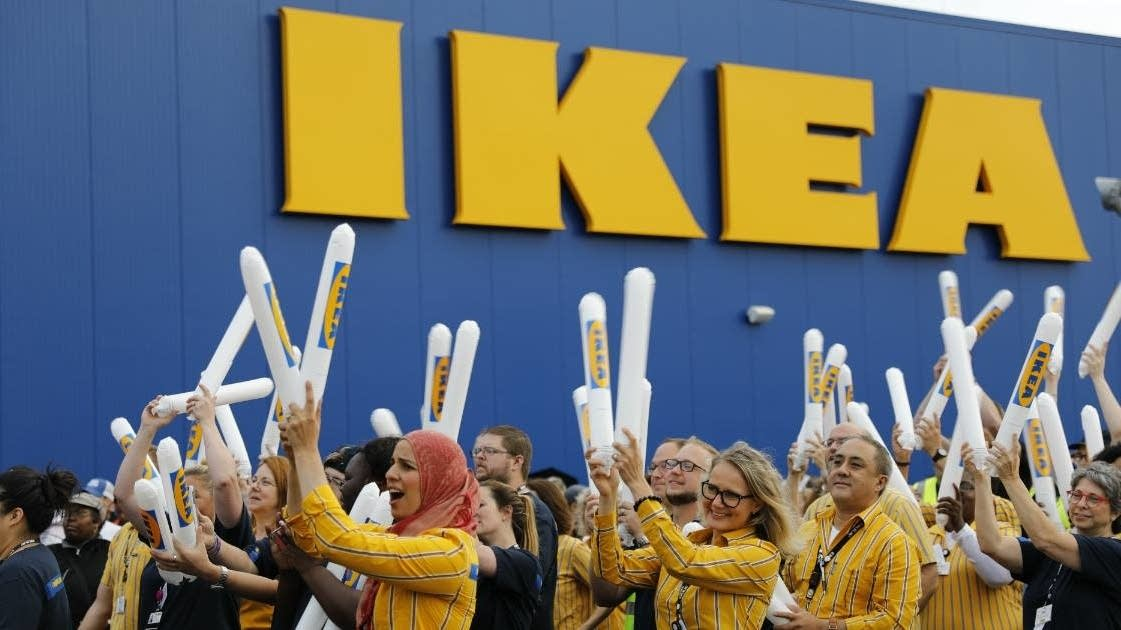 IKEA employees celebrate a new store in Wisconsin.