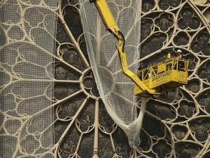 Workers install a net to cover one of the iconic stained glass windows