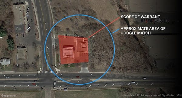 The reduced accuracy of Google's data placing a cellphone near the scene