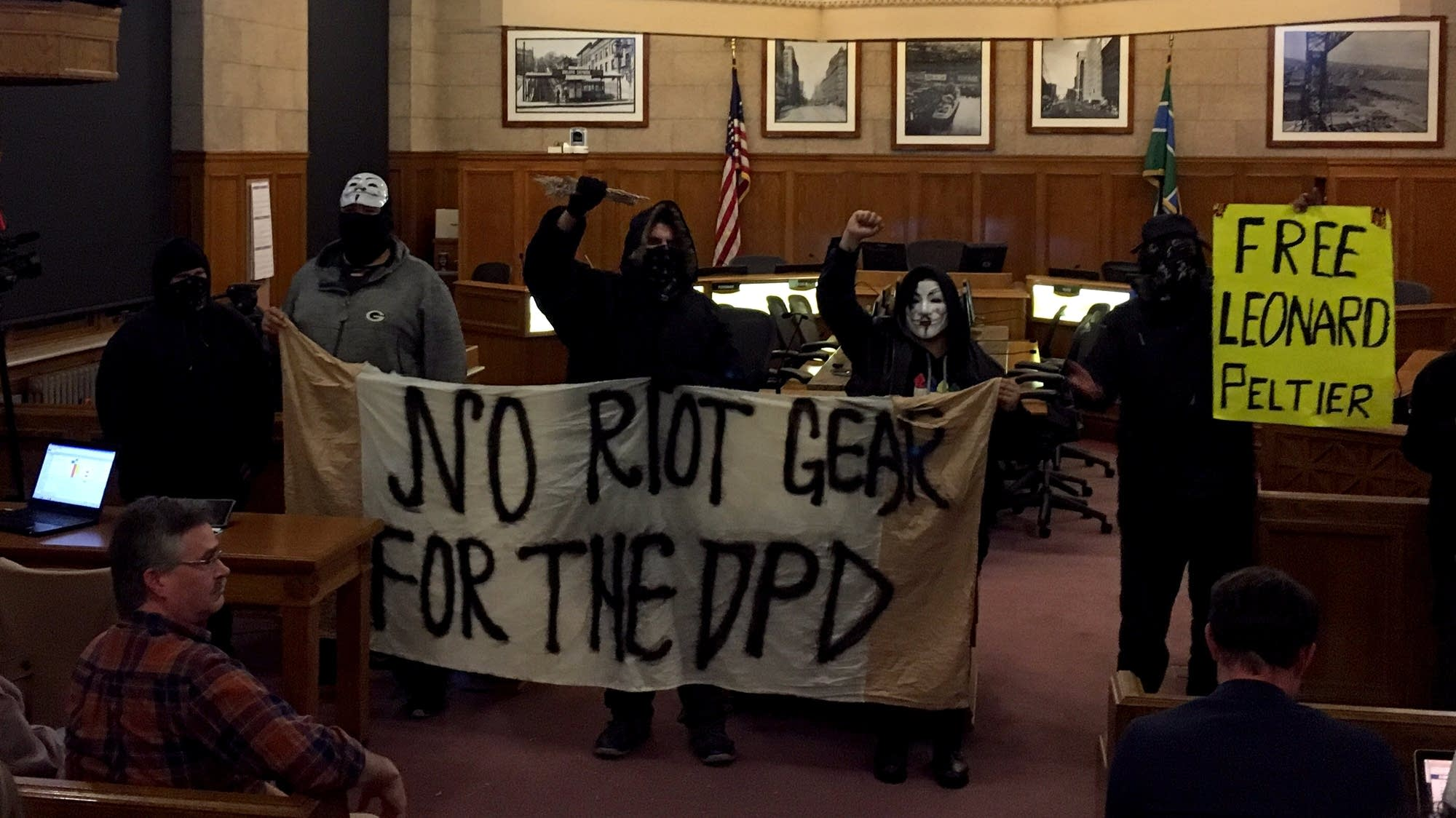Protest at Duluth City Council meeting